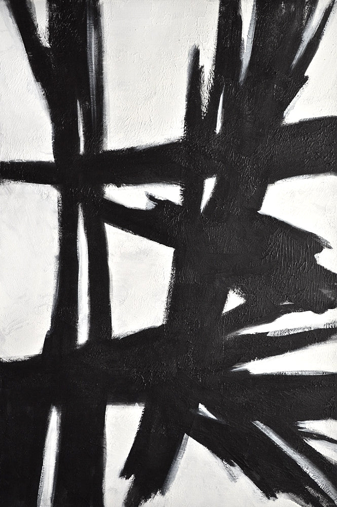"""Reaching Out"" Vertical Black and White Painting"