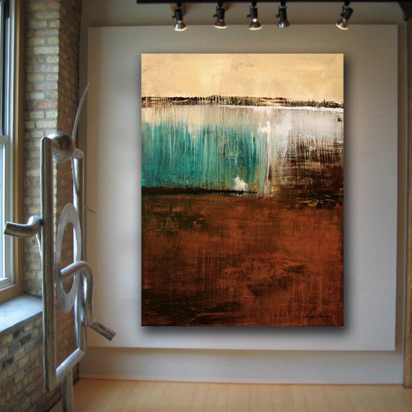 brown turquoise large painting huge abstract modern art bethany sky whitman