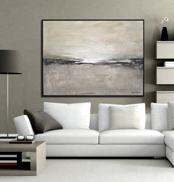 Original landscape painting framed modern art horizon contemporary painting Sky Whitman