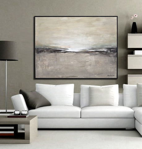 """Stranded Heart"" Gray Black White Framed Abstract Landscape Painting 31""x41"" ~Available For Immediate Shipping"