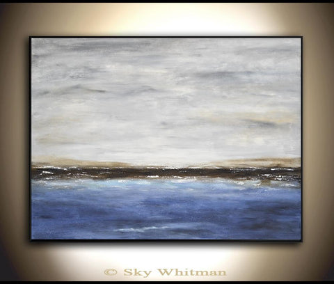 """The Break III"" Original Modern Oil Painting Large Abstract Art Landscape Contemporary Art Seascape Ocean Blue Gray ~AVAILABLE FOR IMMEDIATE SHIPPING"