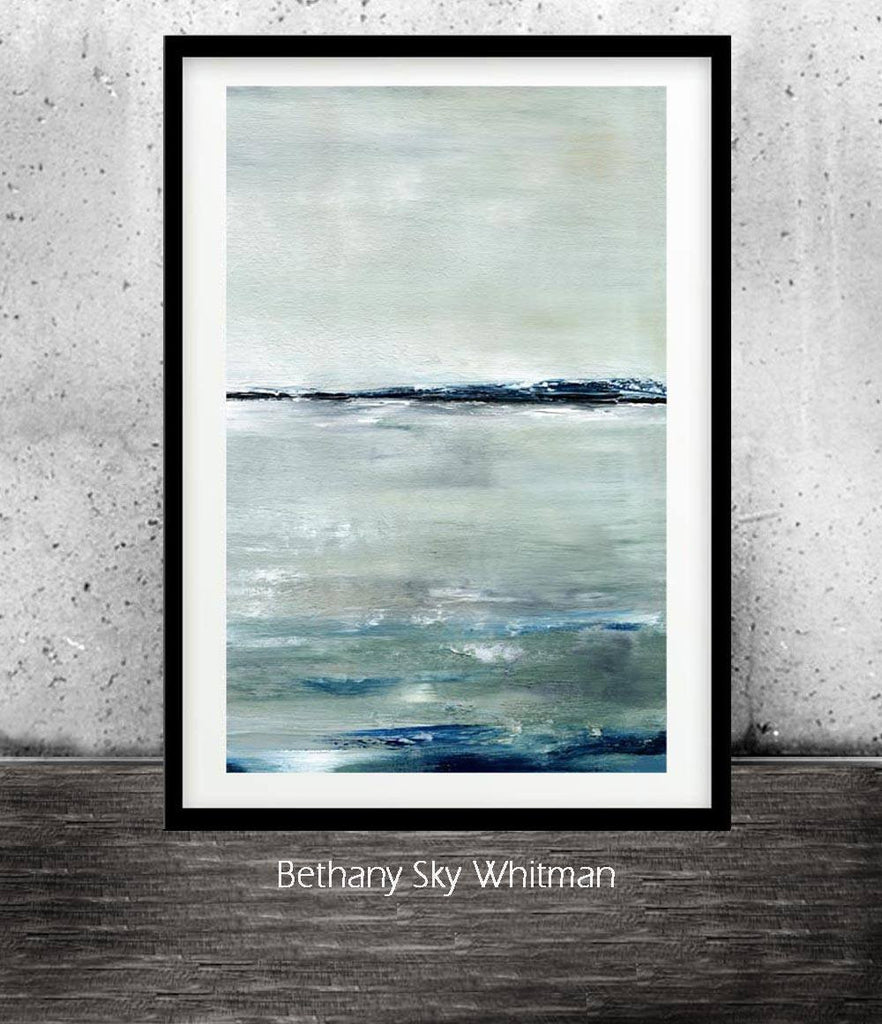 abstract seascaope print digital print downloadable art deep blue Sky Whitman