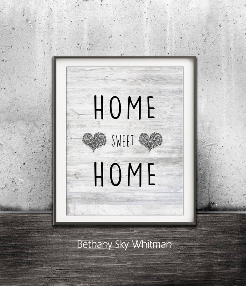home sweet home print digital art hearts black and white Sky Whitman fine art