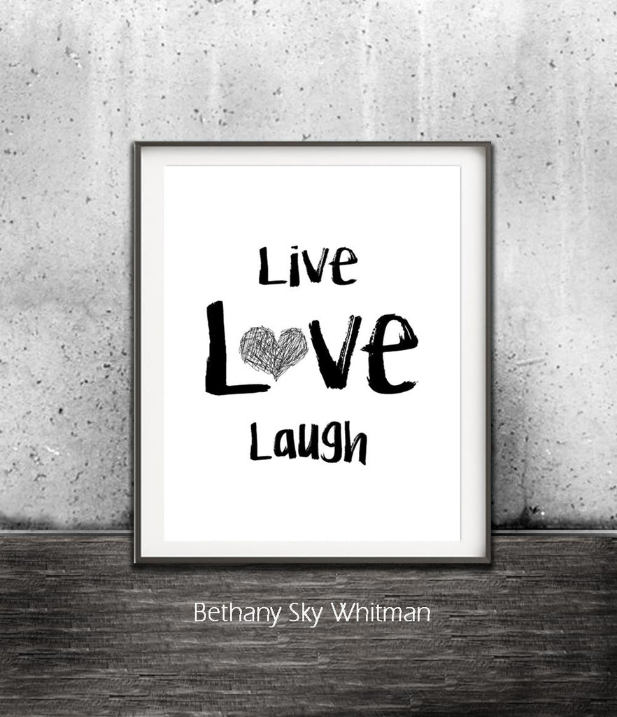 live love laugh print digital download modern quote print heart inspiration 8x10 Sky Whitman