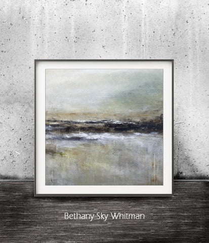 """Wanderlust R-SQ"" Instant Print Abstract Art 12x12 Printable Art Square Landscape Painting Modern Rust Sage Brown Taupe Contemporary Zen Art"