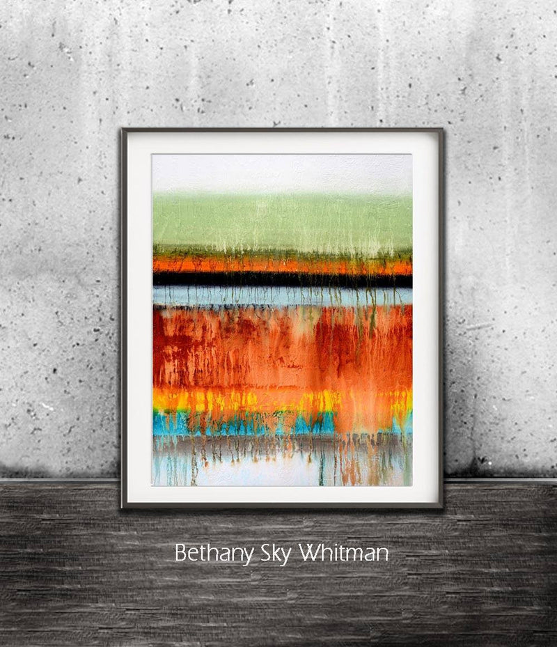 rainbow print digital download art colorful abstract stripes sage orange Sky Whitman