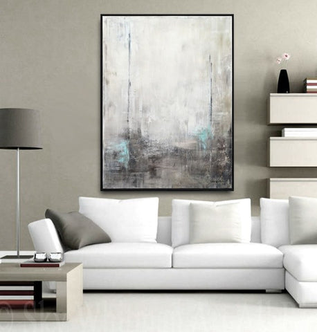 """The Drifter"" Framed Modern Abstract Oil Painting Gray Black White Blue 31""x41"" ~Available For Immediate Shipping"