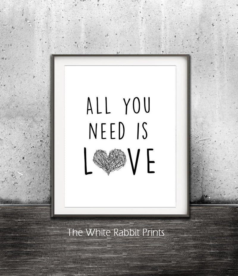 digital print all you need is love the beatles lyrics art  wall decor heart Sky Whitman Fine Art