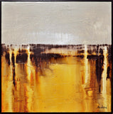 Original abstract art modern contemporary oil painting amber yellow cream high gloss textured art for sale Bethany Sky Whitman