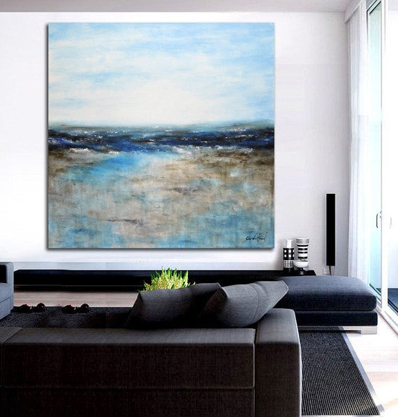 Large blue landscape painting original abstract modern design Sky Whitman