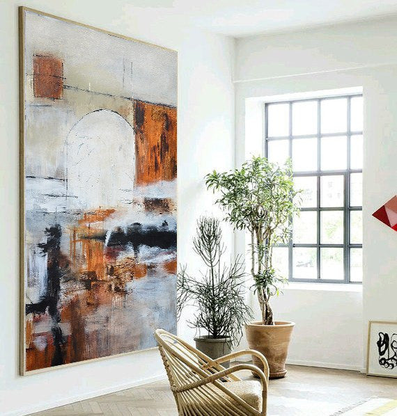 """Make It Count"" Rust Taupe White Black Gray Original Large Abstract Painting by Sky Whitman"