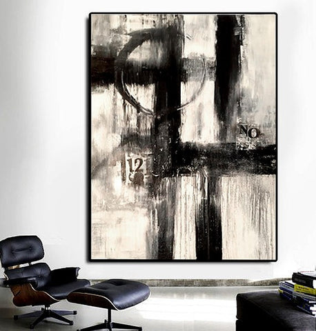 """Parallel Vision"" Black and White Large abstract painting"