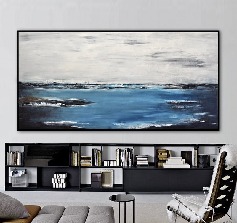 36 x 72 panoramic landscape blue artwork