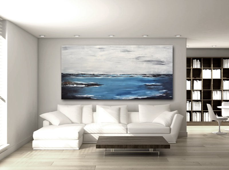 """Bluer than Blue"" Abstract Panoramic Large Landscape"