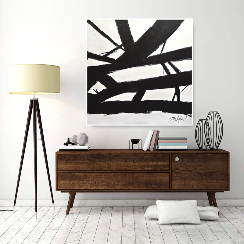 minimalist black and white art painting www.skywhitmanfineart.com