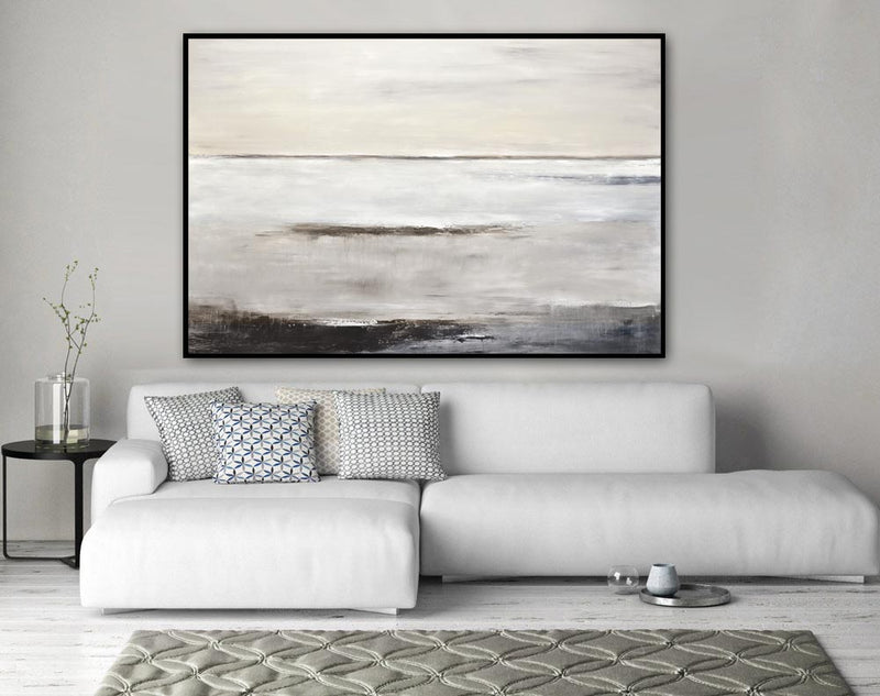 XXL art large modern abstract painting horizon tan taupe