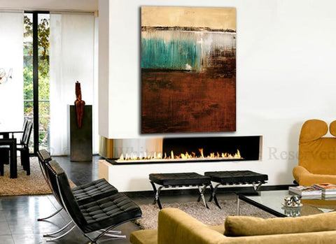 Large Brown Blue Abstract Contemporary Painting