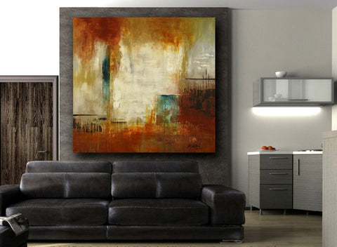 "Huge 60""x60"" Burnt Orange Abstract Contemporary Painting"