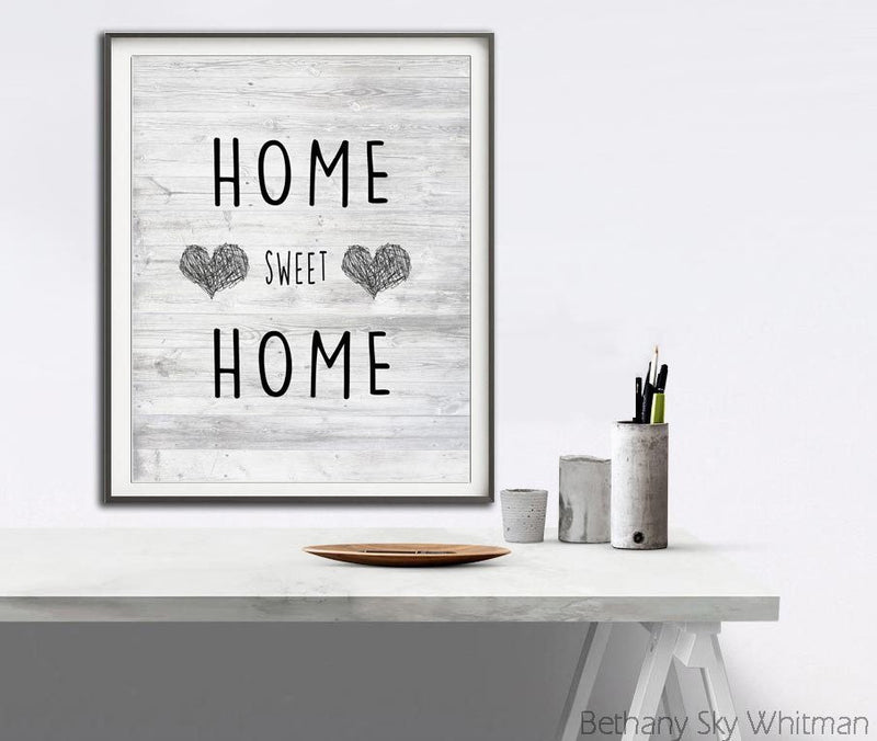 rustic print home sweet home hearts quote modern print Sky Whitman