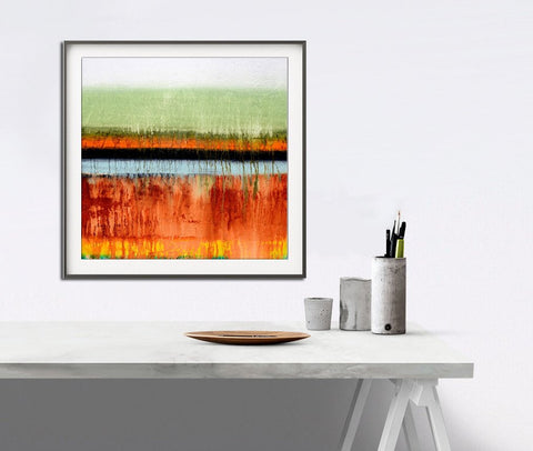 """Many Layers SQ"" Rainbow Art Abstract Print Instant Download Digital Print 12x12 Colorful Wall decor Sage Orange Yellow Blue Painting"