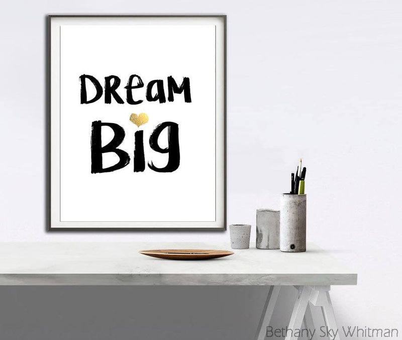 quote print dream big art typography instant download digital print heart gold