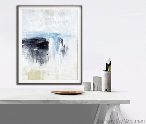 """Till So Far"" Abstract Art Print Digital Download Modern Art Contemporary Painting White Black Blue"