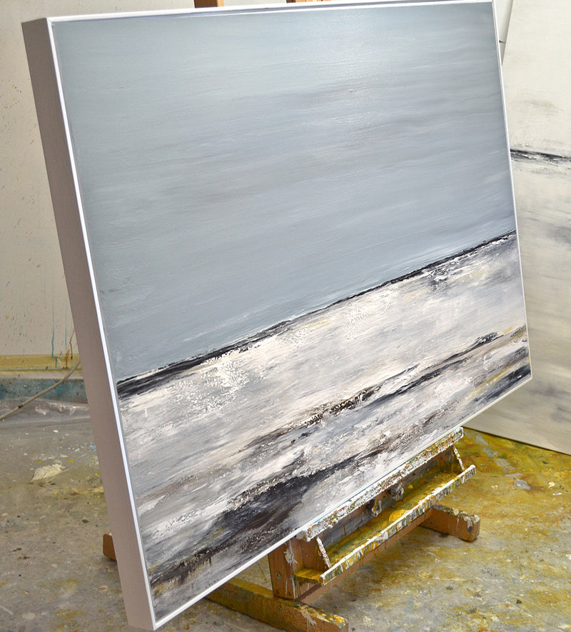 """A New Day"" Gray Abstract Landscape Large Painting"