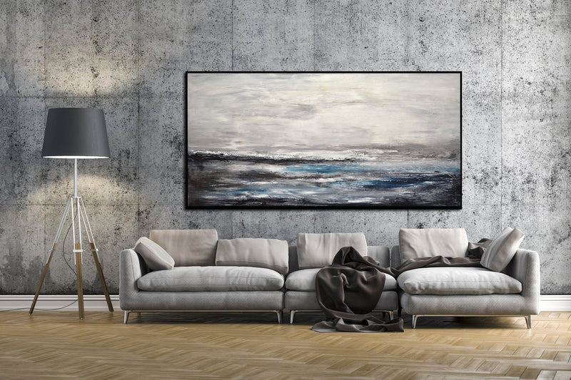 """Blue Storm"" 36x72 Abstract Painting Landscape Artwork"