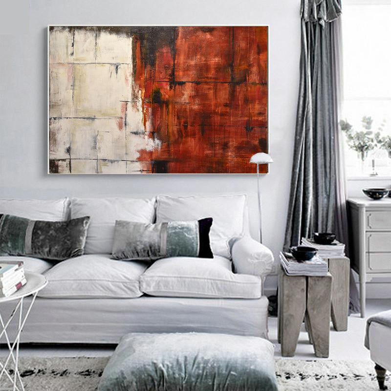 original red white abstract painting
