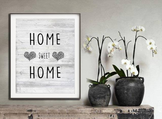 scribble heart home sweet home print wall art artwork heart rustic modern