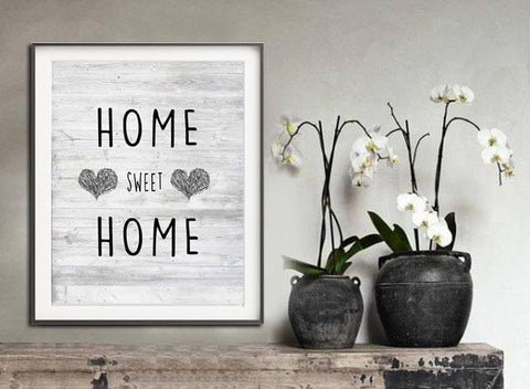 """Home Sweet Home"" Fine Art Print HOME SWEET HOME Instant Print Digital Download Heart Quote Typography Modern Art Print Printable Art Wall Decor"