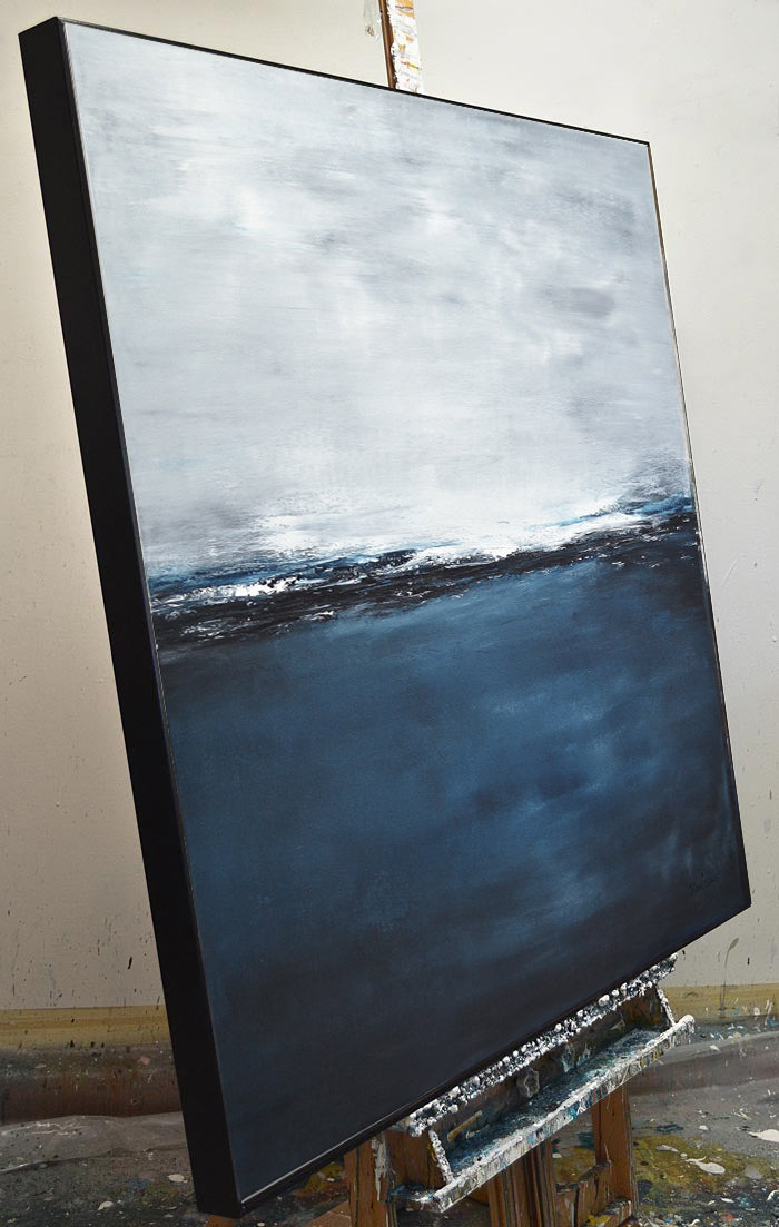 """In Deep"" Large Seascape Abstract Painting 48 x 48"
