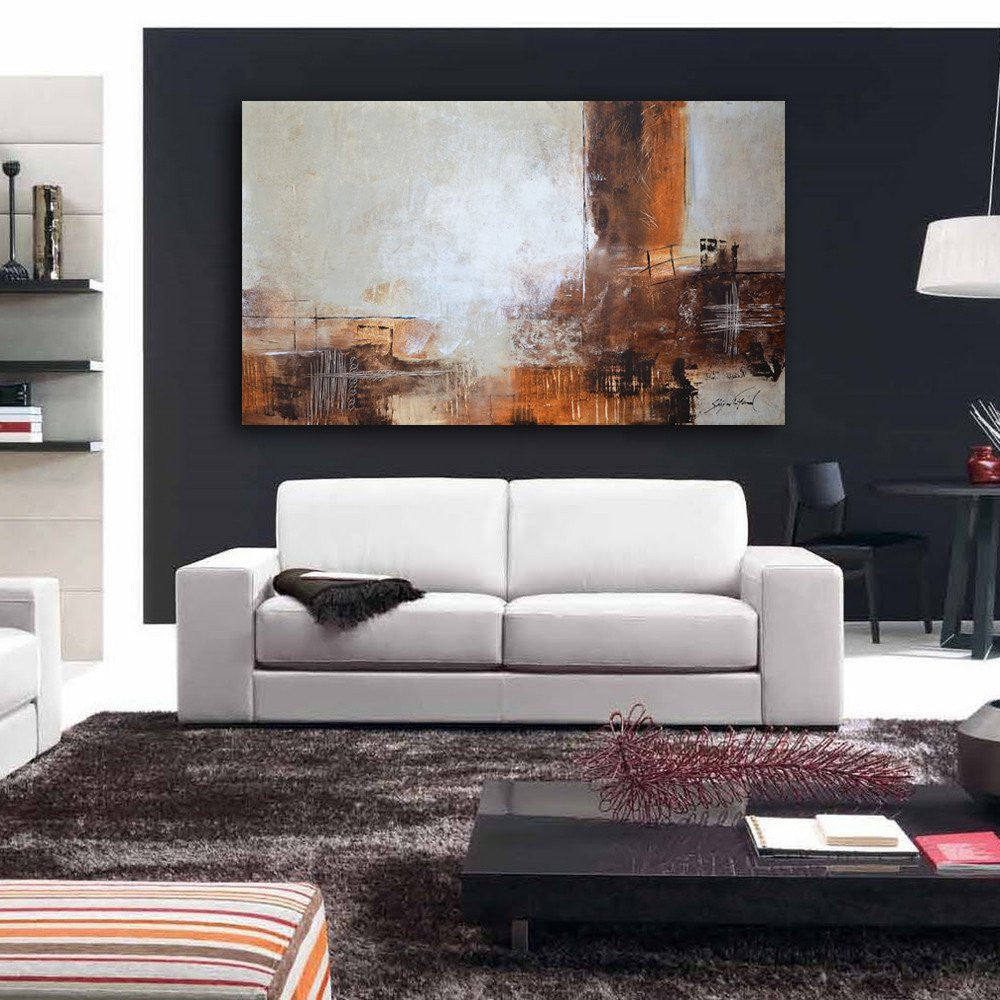 Large Taupe Rust Brown Abstract Contemporary Painting