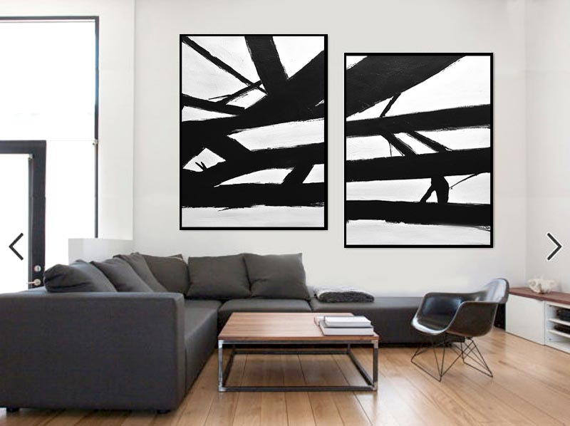Massive abstract paintings Kline style 2 piece black and white minimal art
