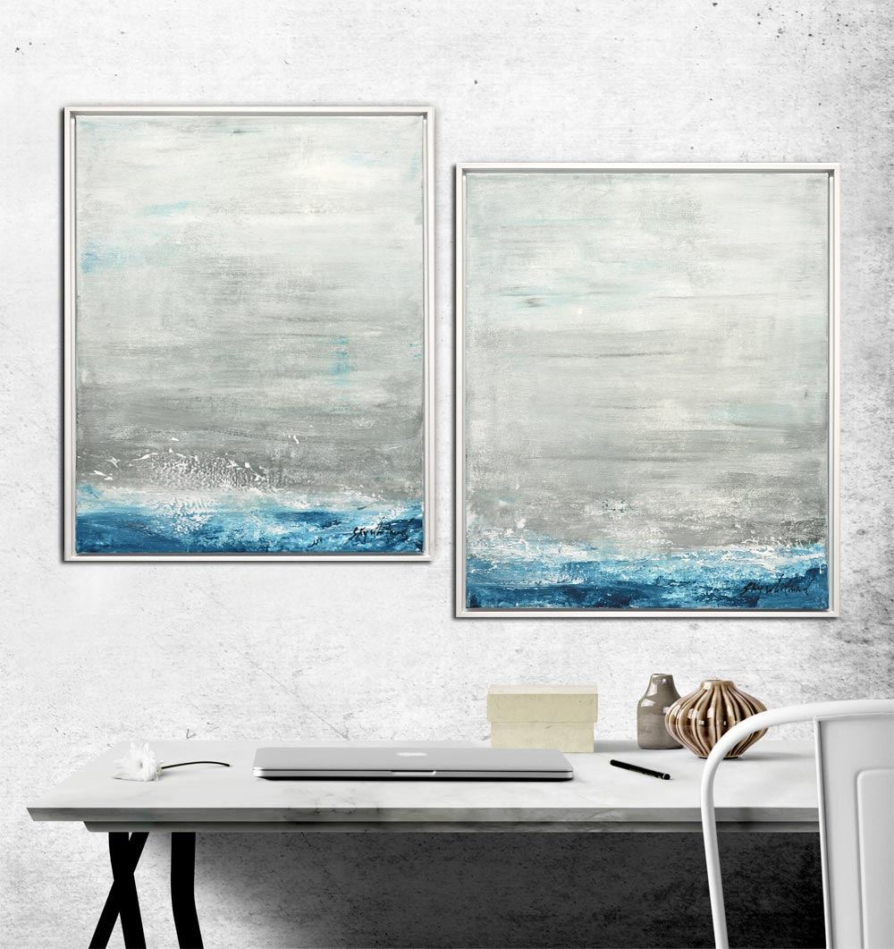 dyptich paintings abstract in frames