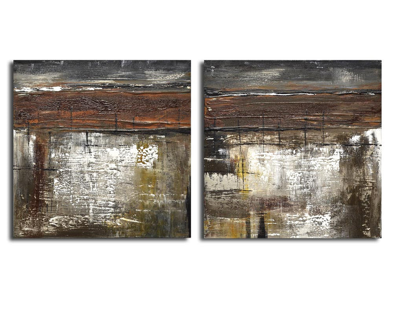 set of 2 abstract paintings whitman