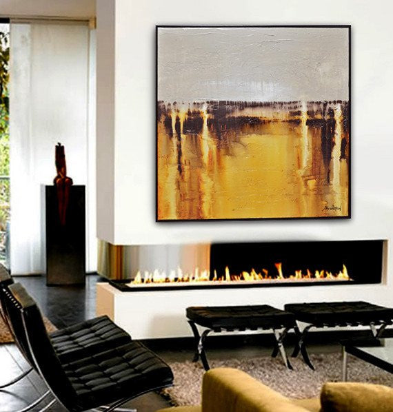 """Amber Rain"" Textured Amber & Taupe Hight Gloss Diepte Kleur Original Abstract Painting"
