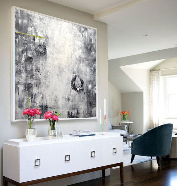 black and white original large abstract painting Sky Whitman