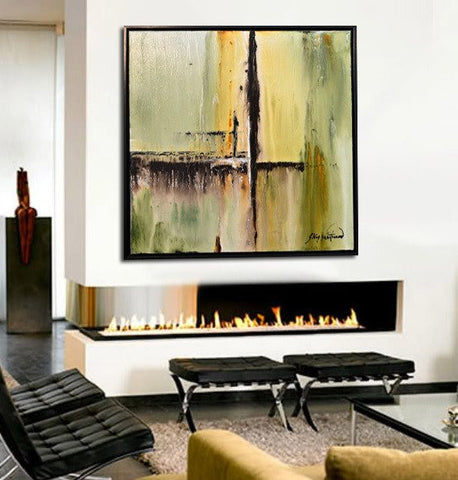 """Somewhere"" Olive Green Textured Diepte Kleur Abstract Painting High Gloss Modern Art Wall Art"