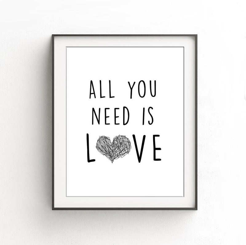 Black and white digital print beatles all you need is love heart design words lyrics large print Sky Whitman