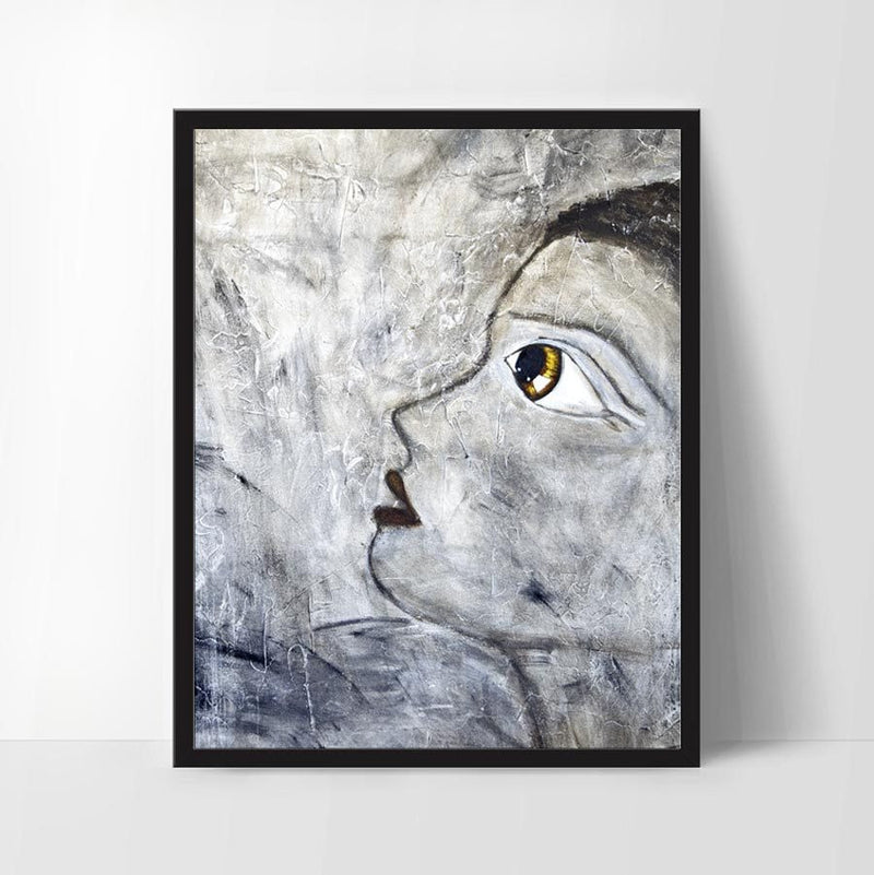Digital print design home decor wall art pop art girl print big eye print Sky Whitman