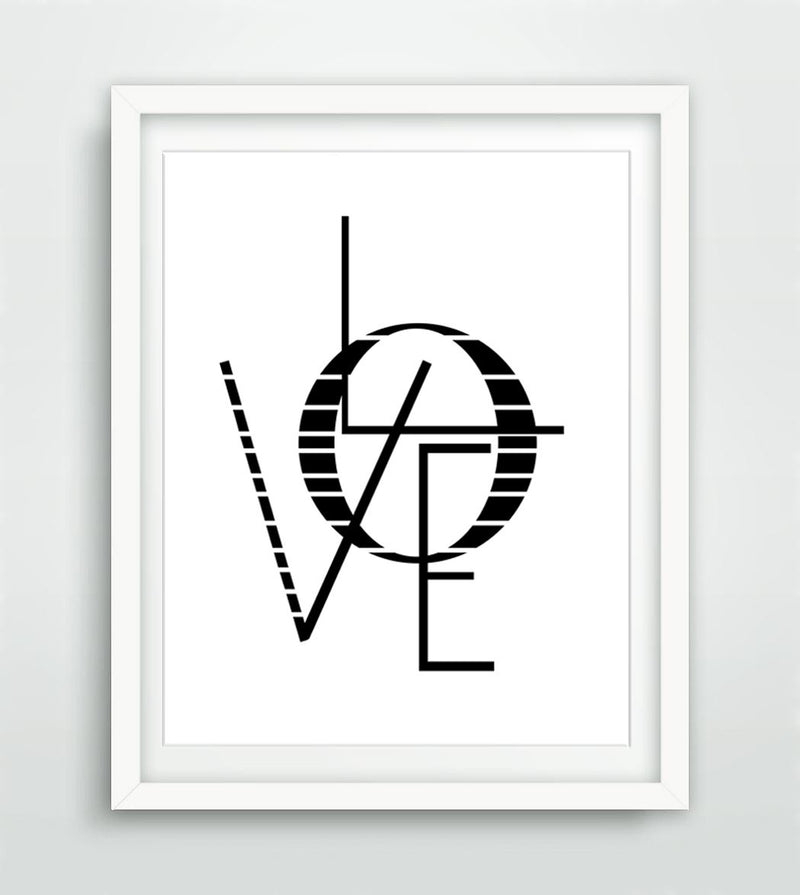 Typography love print printable art digital download black and white