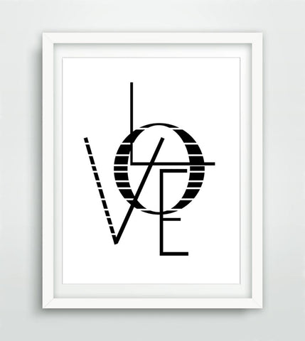 """Love"" Love Print Instant Digital Download Print Black and White Print Typography Love Quote Inspirational Art Print 3D Print 3D Painting"