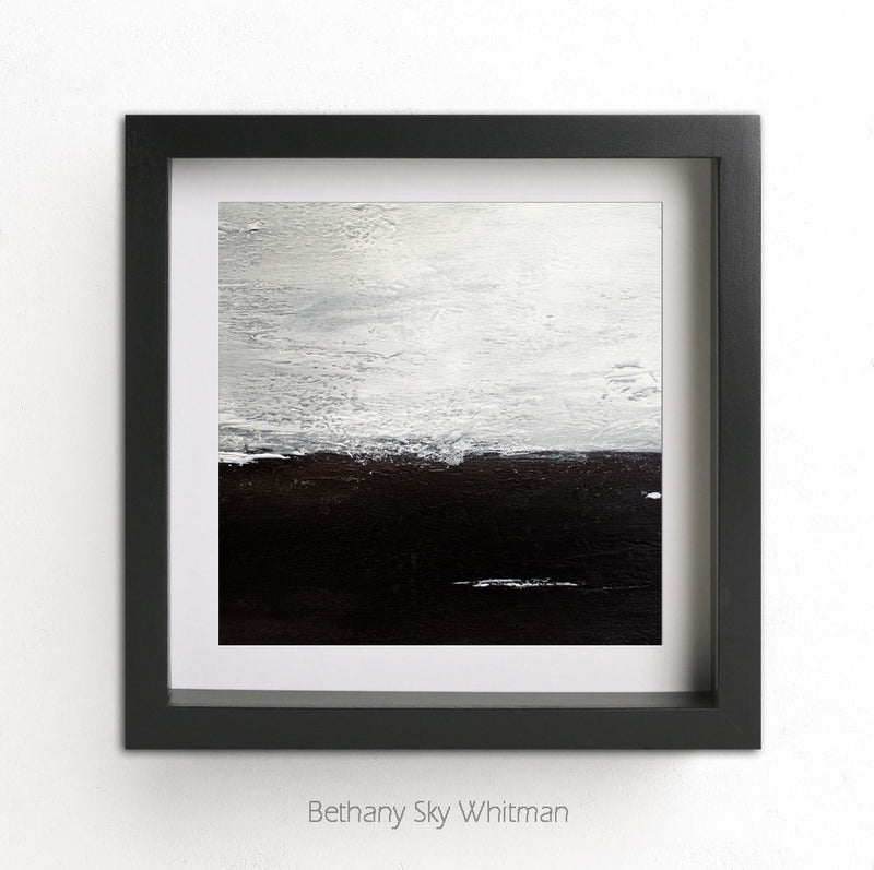 Square abstract landscape print black and white art printable
