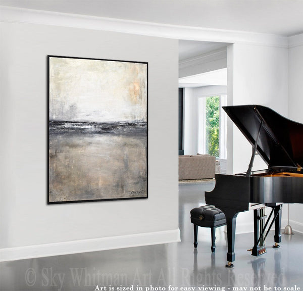 black white framed abstract landscape painting 31x41 contemporary painting modern large painting sky whitman