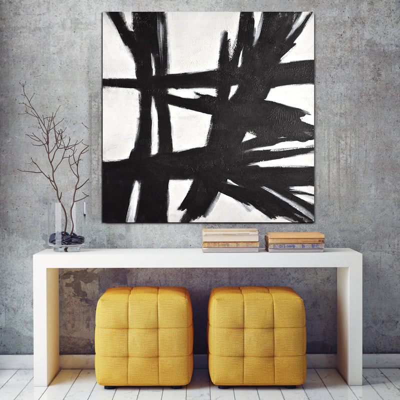 """Reaching Out"" Black and White Artwork Large Painting"