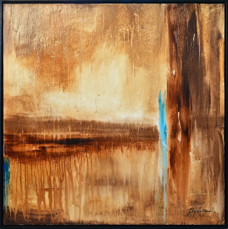 brown abstract framed painting glossy textured cream earth tones art for sale Bethany Sky Whitman