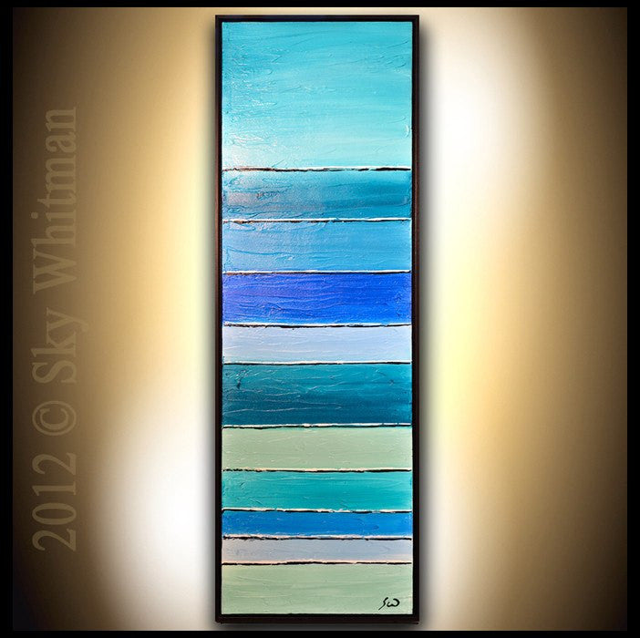 original framed blue painting modern abstract art Bethany Sky Whitman