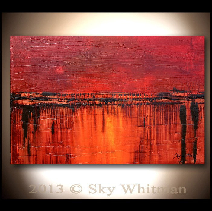 Warm Red Crimson Diepte Kleur Abstract Painting