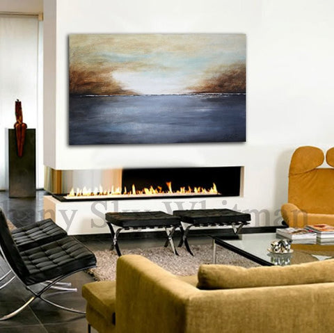 """Just Breathe"" Large Original Landscape Seascape Abstract Painting Brown Gray Contemporary Art"
